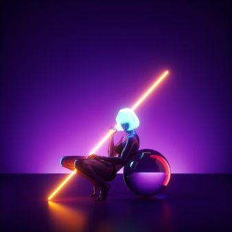 Renderowania 3d, pozująca wirtualna modelka siedząca na scenie ze świecącym kijem neonowym. realistyczna lalka manekina.