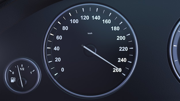 Renderowania 3d prędkościomierz samochodu zbieranie prędkości