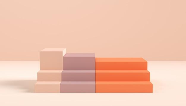 Renderowania 3d prezentacja schodów i tło dla marki