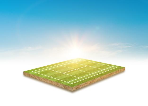 Renderowania 3d projekt kortu tenisowego z zielonej trawy na jasnym tle błękitnego nieba