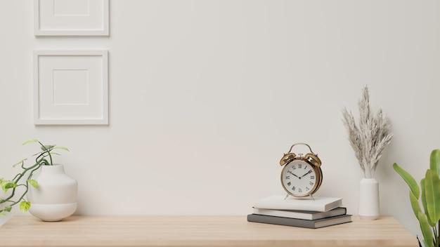 Renderowania 3d, projektowanie wnętrz domu z dekoracjami i doniczkami na biurku z białym tle ściany