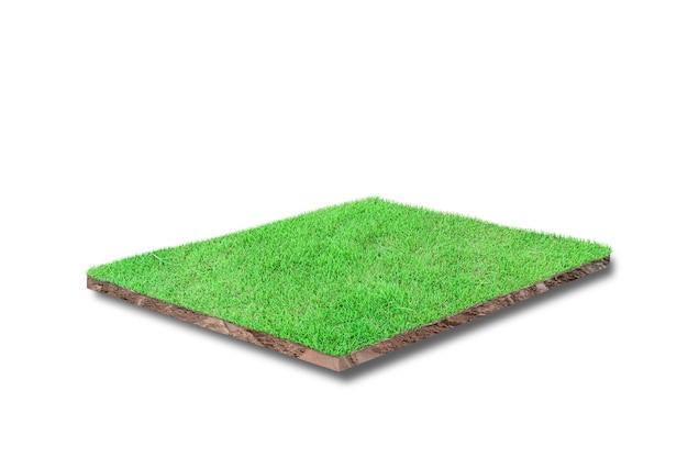 Renderowania 3d. przekrój sześcienny gleby z zieloną trawą na białym tle