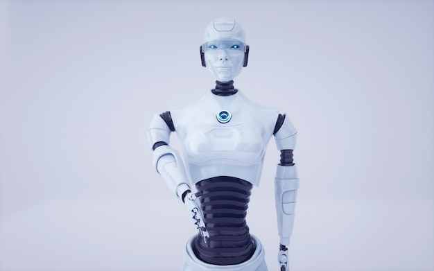 Renderowania 3d przyszły robot sztucznej inteligencji i cyborg
