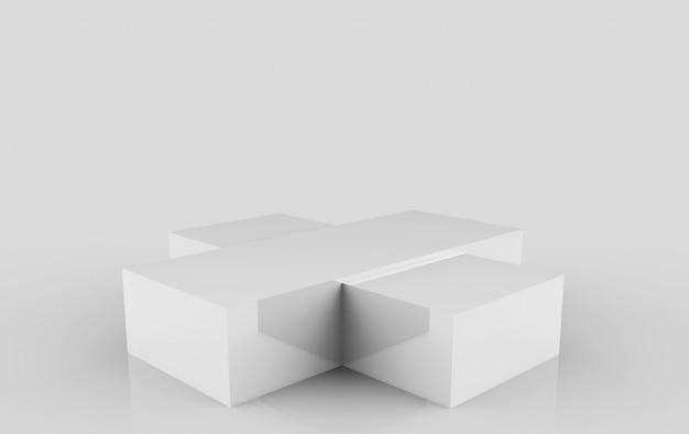 Renderowania 3d. pusta prostokąt szare pole podium scena na białym tle.