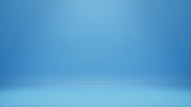 Renderowania 3d, puste niebieskie tło pokoju studio z miejsca na kopię do wyświetlania produktu lub strony internetowej banera
