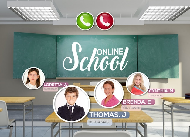 Renderowania 3d pustej sali lekcyjnej ze słowami szkoły online napisanymi na tablicy i odbywającej się wideokonferencji