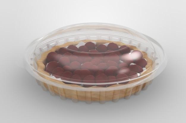 Renderowania 3d pusty przezroczysty pojemnik na ciasto na białym tle. nadaje się do projektu projektowego.