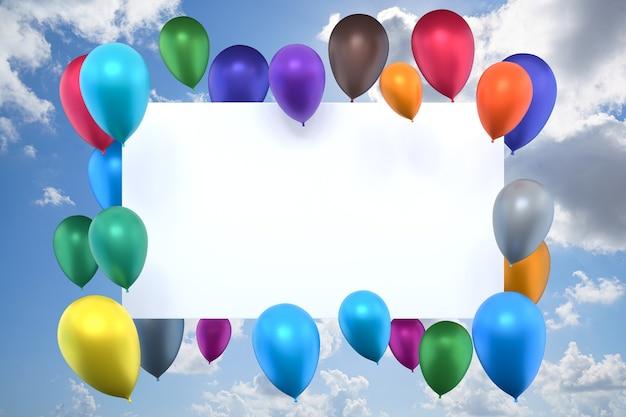 Renderowania 3d ramki urodziny z kolorowych balonów