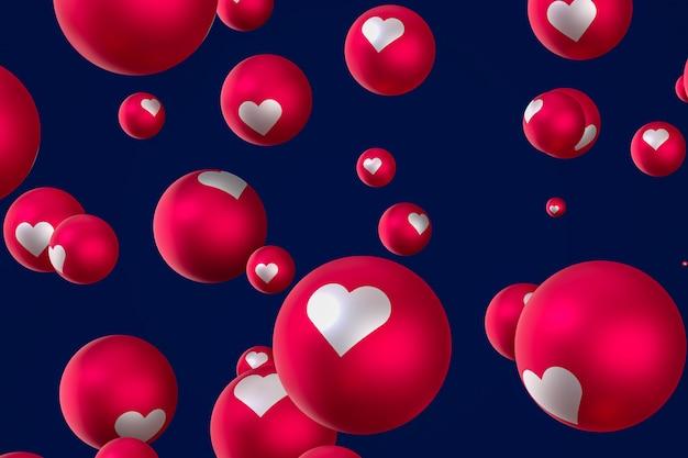 Renderowania 3d reakcji emoji serca
