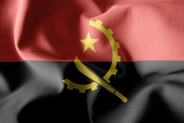 Renderowania 3d realistyczna falująca jedwabna flaga angoli