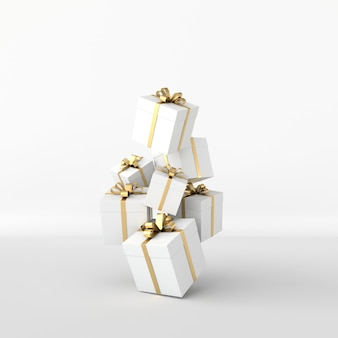Renderowania 3d realistyczne białe pudełko z kokardą złotą wstążką na białym tle