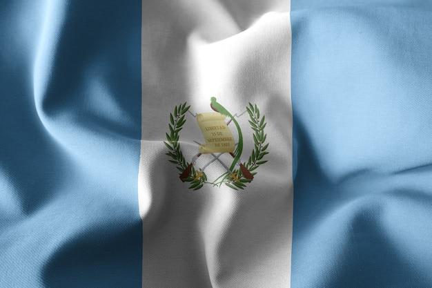 Renderowania 3d realistyczne macha jedwabnej flagi gwatemali