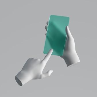 Renderowania 3d, ręce manekina trzymając zielony szklany inteligentny telefon, urządzenie elektroniczne na białym tle.