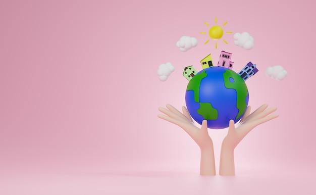 Renderowania 3d ręka trzyma świat wiyh cztery dom i drzewo na świecie i niebieskim tle. światowy dzień siedliska concrpt.