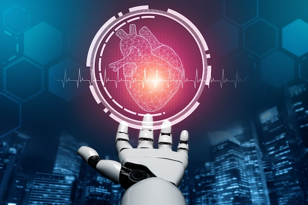 Renderowania 3d robot medyczny sztucznej inteligencji pracujący w przyszłym szpitalu