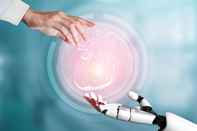 Renderowania 3d robota medycznej sztucznej inteligencji