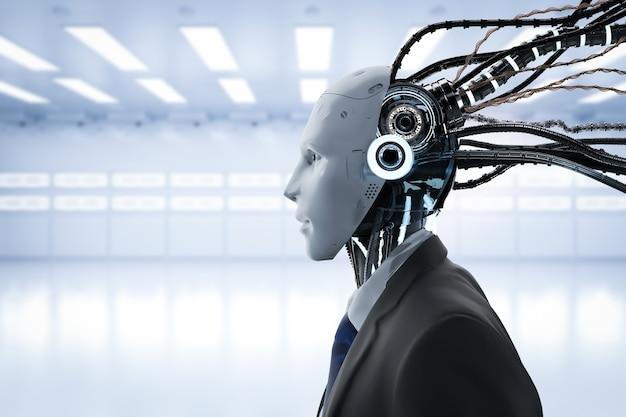 Renderowania 3d robotyczny biznesmen z kablami nosi garnitur