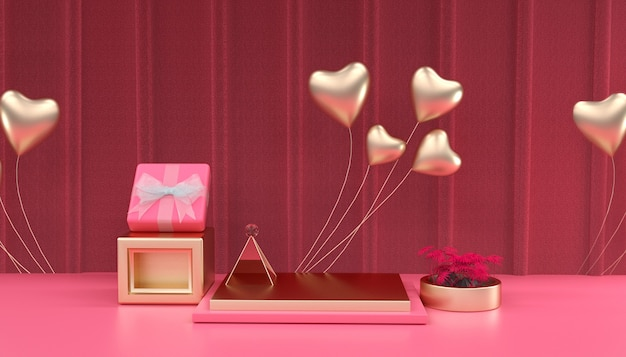 Renderowania 3d romantycznego tła z sercem do wyświetlania produktu