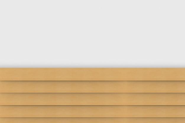 Renderowania 3d. równoległe brązowe panele drewniane na tle białej ściany.