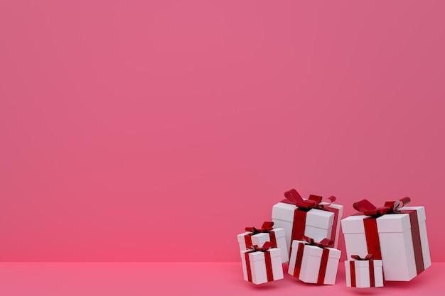 Renderowania 3d, różowe tło kolorowe realistyczne pudełko z kolorową kokardką na pustej przestrzeni