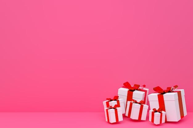 Renderowania 3d, różowe tło kolorowe realistyczne pudełko z kolorową kokardką