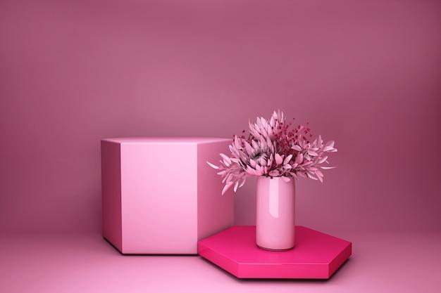 Renderowania 3d różowe tło. wazon z kwiatami, nowoczesny design. prezentacja produktów w sklepie, puste podium, pusty cokół, kwadratowa scena.