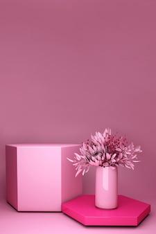 Renderowania 3d, różowe tło z bukietem wiosennych kwiatów. nature minimalny cokół do prezentacji produktów kosmetycznych.