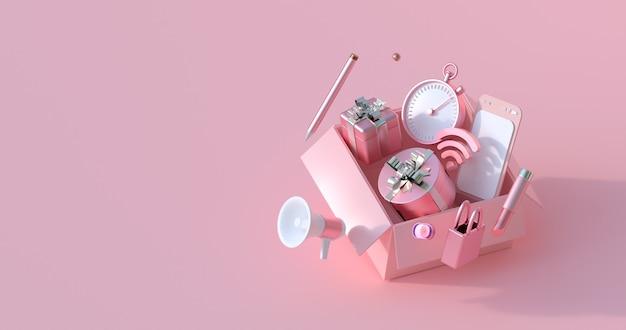 Renderowania 3d różowego pudełka i prezentu.