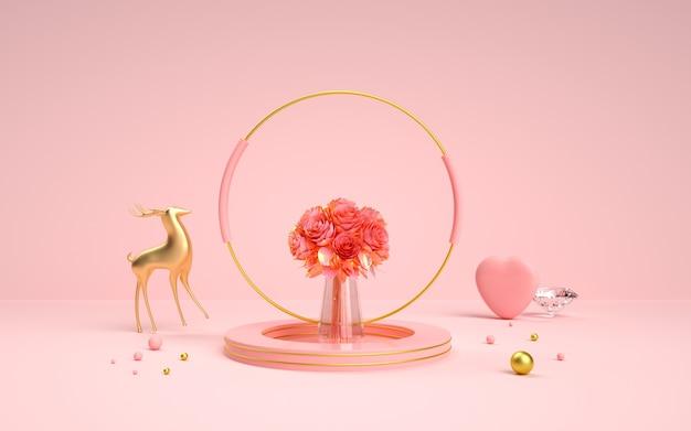 Renderowania 3d różowego romansu geometrycznego na wystawie produktu