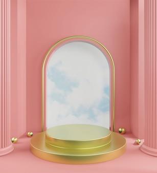 Renderowania 3d różowy geometryczny chodnik z kroków