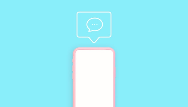 Renderowania 3d różowy i niebieski telefon z ilustracją ikony komentarzy
