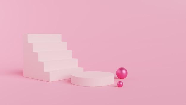 Renderowania 3d różowy podium, schody i kule