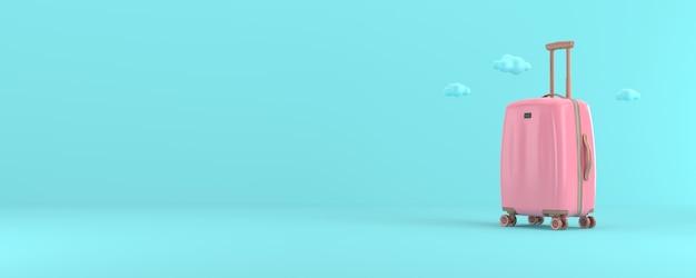 Renderowania 3d różowy walizka na białym tle z niebieskim tłem