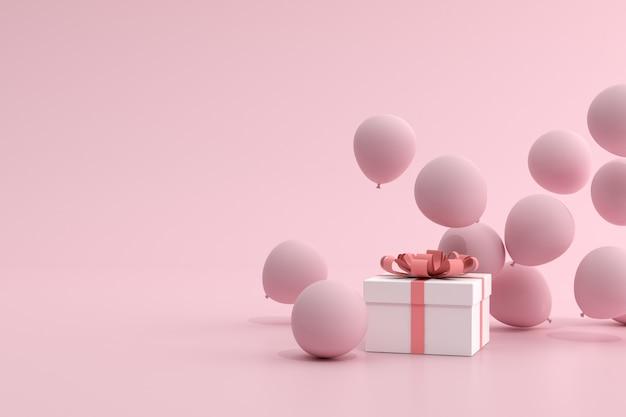Renderowania 3d różowych balonów unoszących się w pobliżu pudełko