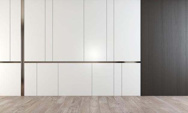 Renderowania 3d scena projektowania wnętrz nowoczesnego pustego salonu i salonu oraz białej i drewnianej ściany i podłogi z drewna