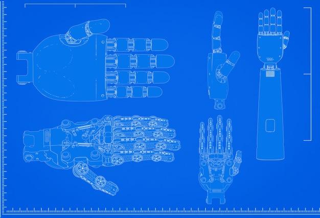 Renderowania 3d schemat dłoni cyborga ze skalą na niebieskim tle