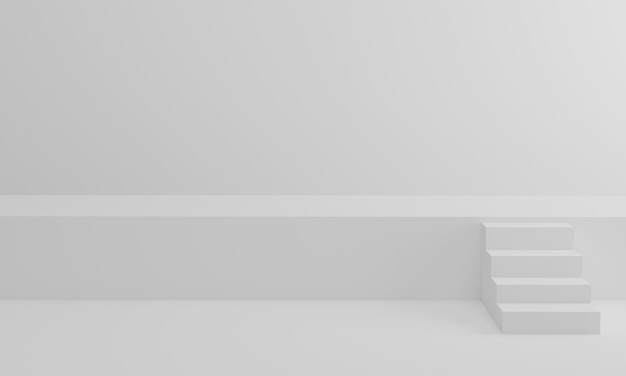 Renderowania 3d. schody na tle białego studia. minimalna scena schodów w górę etapu na ceremonię wręczenia nagród.