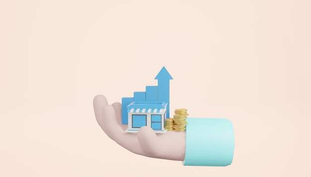 Renderowania 3d sklep z dłońmi, stosy monet i rosnący wykres na jasnożółtym tle