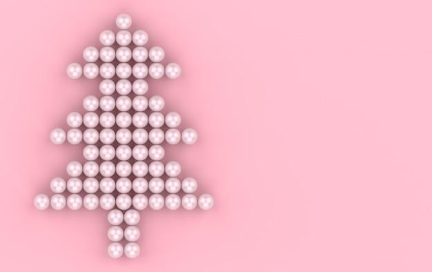 Renderowania 3d. słodka różowa kula perłowa w wesołej choince w kształcie ściany