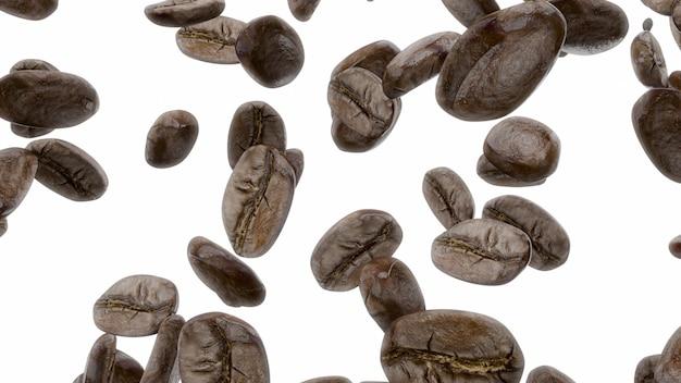 Renderowania 3d spadające ziarna kawy