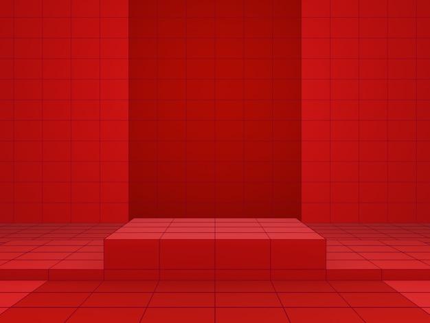 Renderowania 3d stojaka produktu geometrycznej czerwonej siatki