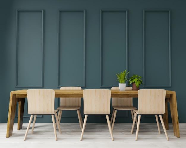 Renderowania 3d stół do jadalni w dużym pokoju. wnętrze, styl art deco, zielona ściana