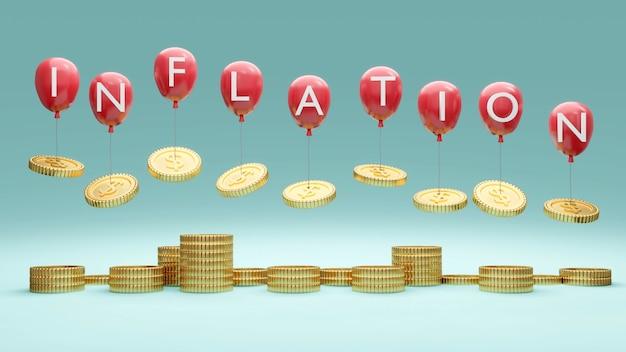 Renderowania 3d stos balonów monet z tekstem inflacja na koncepcji inflacji finansowej
