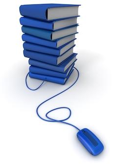 Renderowania 3d stos niebieskich książek podłączonych do myszy komputerowej