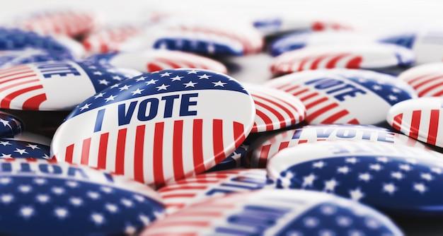 Renderowania 3d stos odznak przycisk głosowania.