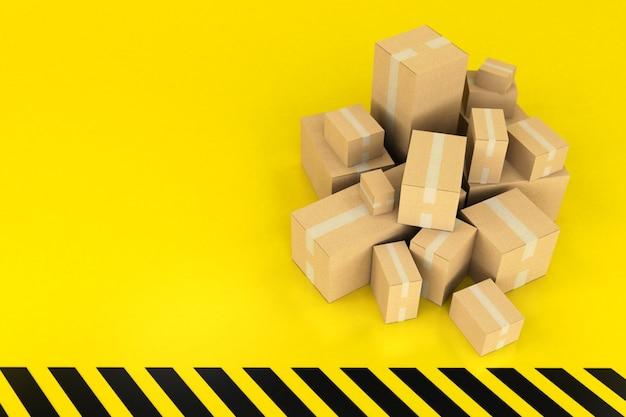 Renderowania 3d stos pudełek na pozbawionej czarnego i żółtej powierzchni
