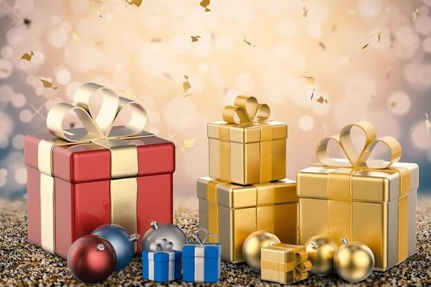 Renderowania 3d stos pudełek na prezenty i bombek