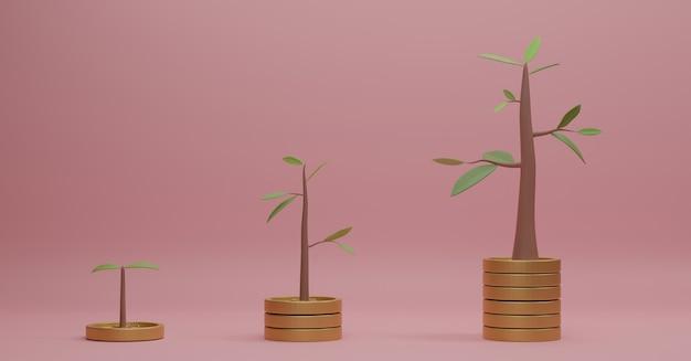 Renderowania 3d stosy monet z drzewami na wierzchu na różowym tle.