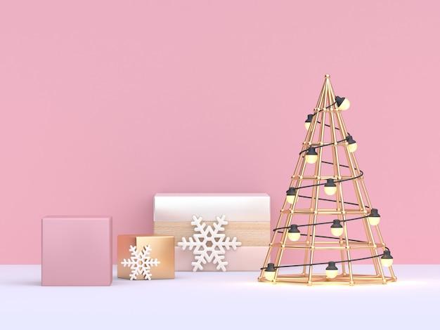 Renderowania 3d, streszczenie choinki i prezenty geometryczne zestaw