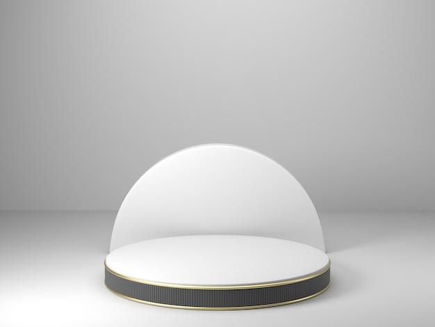 Renderowania 3d, streszczenie geometryczne, podium cylindryczne, minimalistyczne prymitywne kształty, nowoczesna makieta, pusty szablon, złota metalowa siatka, siatka, pusta prezentacja, wystawa w sklepie